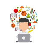 Distance education elearning icon Royalty Free Stock Images