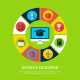 Distance Education Flat Infographic Concept Stock Photo