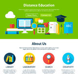 Distance Education Flat Web Design Template vector illustration