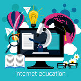 Distance education with internet services concept Stock Images