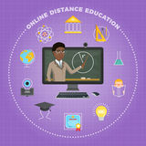 Distance education, learning. The student listens to the lecture Royalty Free Stock Photo