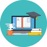 Distance education, online learning concept. Flat design. Icon in turquoise circle on white background Vector Illustration