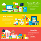 Distance Education and Web Tutorials Flat Horizontal Banners Royalty Free Stock Photos