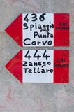Distance indications in steps of the Italian alpine club in the Liguria region of Italy. distance concept. Distance indications in steps of the Italian alpine stock photo