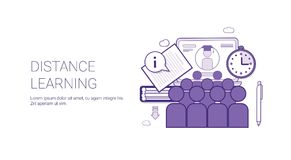 Distance Learing Online Business Concept Elearning Education Template Web Banner With Copy Space Royalty Free Stock Image