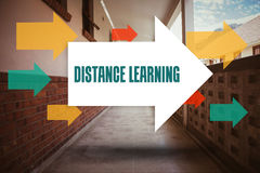 Distance learning against empty hallway. The word distance learning and arrows against empty hallway Royalty Free Stock Image