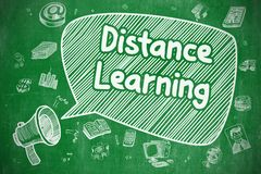 Distance Learning - Doodle Illustration. Green Chalkboard. Speech Bubble with Phrase Distance Learning Doodle. Illustration on Green Chalkboard. Advertising Royalty Free Stock Images