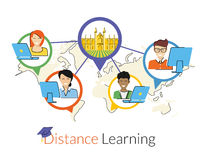 Distance learning. Flat contour illustration with smiling students and the university in the center. Text outlined. Free font Lato Stock Photography