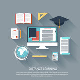 Distance learning with internet services concept Royalty Free Stock Photos