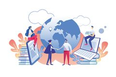 Distance Learning Profession with Diploma Flat. stock illustration