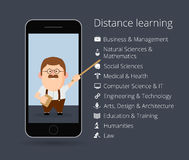 Distance learning. Professor in mobile phone. List of academic disciplines.  Stock Photos