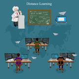 Distance learning, vector illustration. Vector illustration of online educationl concept Royalty Free Stock Photo