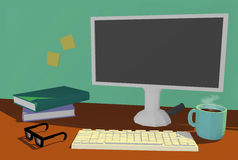 Distance Learning, Work from Home scene with computer and books on desk. A stylish illustration of a computer desk with a cup of coffee, keyboard, mouse Royalty Free Stock Image