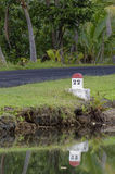 Distance marker on a small road Stock Photos