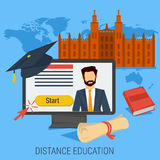 DISTANCE ONLINE EDUCATION CONCEPT. Vector concept online distance education. Man on computer monitor with university building behind him. Book and diploma around Royalty Free Stock Image