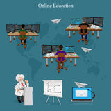 Distance online learning, vector illustration. Vector illustration of online education concept Royalty Free Stock Images