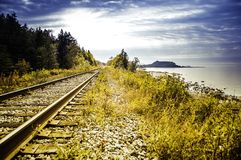 In the distance of the railway. Landscape of Bic, Quebec, Canada. September 24, 2008. Photo taken during a trip royalty free stock photography