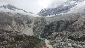 Distance Shot of Laguna 69. Laguna 69 in the Peruvian Andes royalty free stock photo