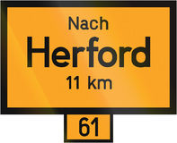 Distance Sign Herford Stock Photo