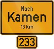 Distance Sign Kamen Stock Photo
