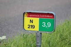 Distance sign on regional road N219 at 3.9 kilometers at Nieuwerkerk aan den IJssel. Distance sign on regional road N219 at 3.9 kilometers at Nieuwerkerk aan stock images
