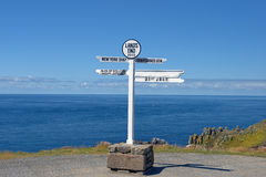 Distance signpost at Land's End, Penwith Peninsula, Cornwall, England Royalty Free Stock Image