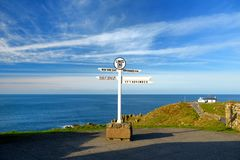 Distance signpost at Land`s End, Penwith Peninsula, Cornwall, most westerly point of England. Stock Photography