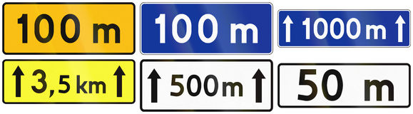 Distance Signs In Poland Royalty Free Stock Photography