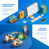 Distance Teaching Banners Set. Online education isometric horizontal banners collection with remote learning conceptual images text and read more button vector Stock Photography