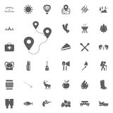 Distance a to b icon. Camping and outdoor recreation icons set.  Royalty Free Stock Photos