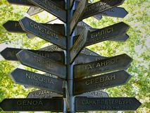 Distance to cities - capitals of Europe. Symbolic index of distances to cities - the capitals of Europe. Located on Dumskaya Square in Odessa, Ukraine, near the royalty free stock photo