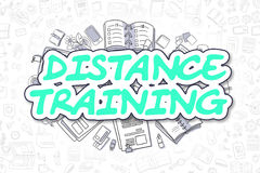 Distance Training - Cartoon Green Text. Business Concept. Royalty Free Stock Images