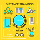 Distance Trainings banner concept. Online Education. Thin Line icons. Vector Illustration.For web banners and promotional material Stock Photo