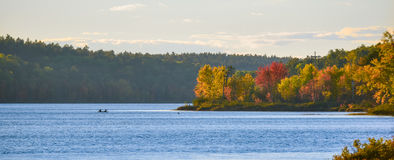 In the distance, two people in a boat.  Late summer afternoon, sun shines golden light on a lake. Royalty Free Stock Photos