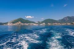 Bay of Budva. Distance view of Budva city seen from Adriatic Sea in Montenegro Stock Photo