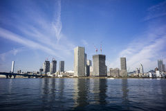 Distance view of Tokyo bay. Under clear blue sky Royalty Free Stock Photos
