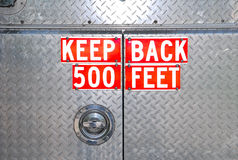 Distance warning from back of firetruck Royalty Free Stock Image