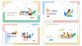 Distance Work Outdoor Yoga Summer BBQ Enjoy Travel. Distance Work Outdoor Yoga. Summer BBQ Enjoy Travel Banner Set. Cartoon People Ride Bicycle Vacation Trip vector illustration