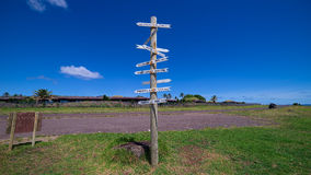 Distances pole at Hanga Roa, Easter Island, Chile Stock Photo