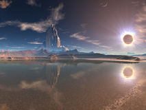 Distant Alien City at Lunar Eclipse Stock Photography