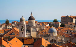 Distant building inside the old town of Dubrovnik Royalty Free Stock Image