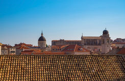 Distant building inside the old town of Dubrovnik Stock Photo