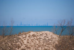 Distant Chicago Skyline. Downtown Chicago, as seen from the shores of Lake Michigan near Gary, Indiana. The foreground shows one of the dunes from the Indiana Royalty Free Stock Photo