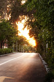 Distant Dreamy Sunset. A Road To The Distant Hope Royalty Free Stock Photo