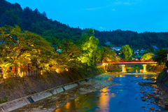 Distant Dusk Naka-Bashi Bridge Down River Takayama Stock Image