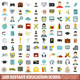 100 distant education icons set, flat style Stock Photo