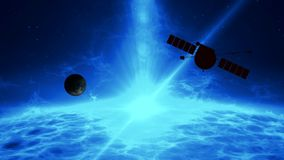 Distant exoplanet exploration by space probe stock illustration