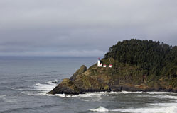 Distant Haceta Head Lighthouse Oregon Coast Stock Photo