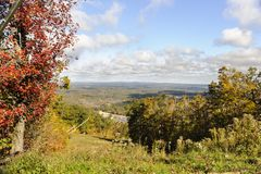 Distant hills from Wachusett Mountain. Autumn view across lakes and hills from Wachusett Mountain Royalty Free Stock Photography