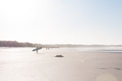 Distant Image Of Person With Surfboard Walking At Beach Royalty Free Stock Image